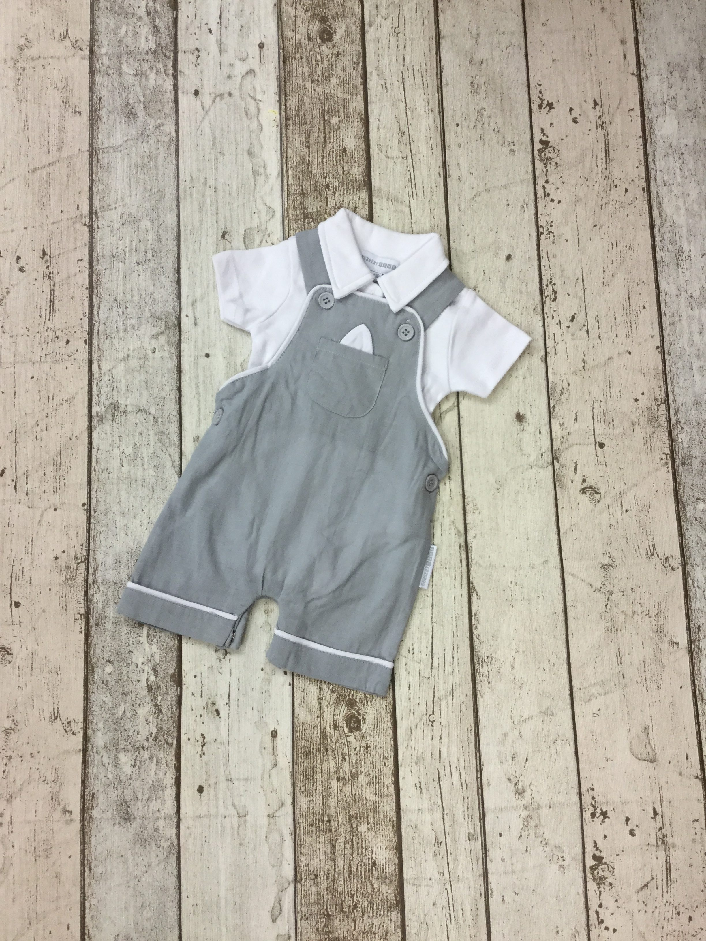 922de4918e14 BOYS GREY   WHITE ROMPER SET - Storky Baby and Childrenswear